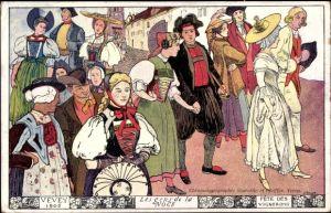 Künstler Ak Vevey Kt. Waadt Schweiz, Les gens de la Noce, Fete des Vignerons, schweizer Trachten