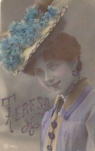 Glitzer Ak Vorname Teresa, Frau mit Hut, Blumenschmuck, NPG 1086/4