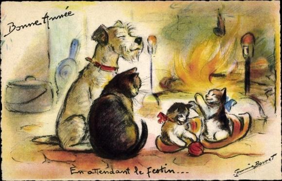 Künstler Ak Bouret, Germaine, Glückwunsch Neujahr, Kaminfeuer, Hund, Katze, Katzenbabys, Wollknäuel