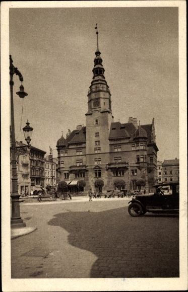 Ak Opava Troppau Reg. Mährisch Schlesien, Oberring, Schmetterhaus, Auto