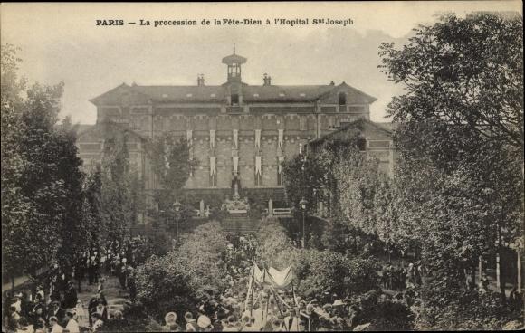Ak Paris XIV., La procession de la Fete Dieu a l'Hopital Saint Joseph