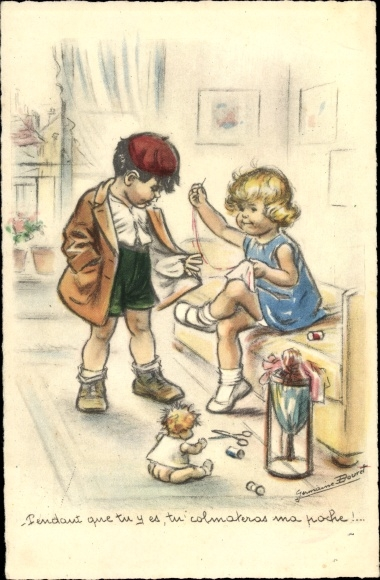 Künstler Ak Bouret, Germaine, Mädchen flickt Kleidung, Junge mit löchriger Jacke, Puppe