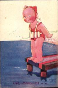 Künstler Ak Mallet, Beatrice, Mädchen in Badeanzug auf Seesteg, Strand, Kitsch