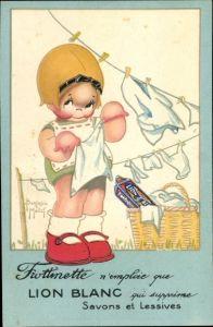 Künstler Ak Mallet, Beatrice, Frottinette Werbung, Mädchen hängt Wäsche auf Wäscheleine