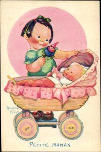 Künstler Ak Mallet, Beatrice, Petite Maman, Mädchen spielt mit Baby im Kinderwagen, Kitsch