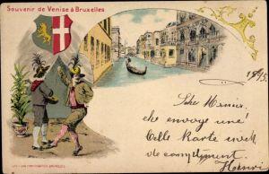 Litho Brüssel, Souvenir de Venise à Bruxelles, Wappen, Tänzer, Bootspartie