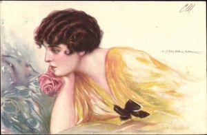 Künstler Ak Corbella, T., Frauenportrait, gelbes Kleid, Rose