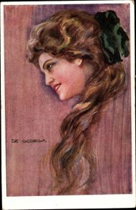 Künstler Ak de Godella, Frauenportrait, Brünette, grüne Schleife
