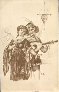 Künstler Ak Bottaro, E., Paar in historischen Kostümen, Laute