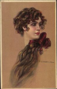 Künstler Ak Corbella, T., Frauenportrait, rote Schleife im Haar