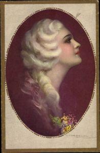 Künstler Ak Corbella, T., Frauenportrait, Profil