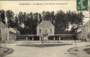 Ak Migennes Yonne, La Mairie et les Ecoles Communales