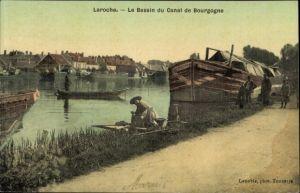Ak Laroche Yonne, Le Bassin du Canal de Bourgogne
