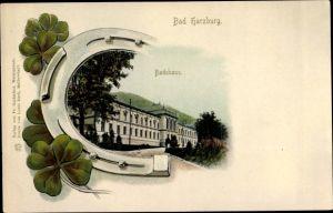 Litho Bad Harzburg in Niedersachsen, Badehaus, Kleeblätter, Hufeisen
