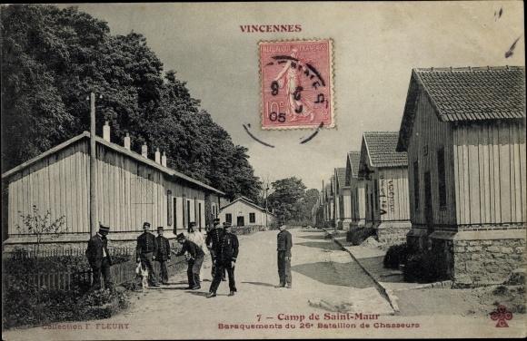 Ak Vincennes Val de Marne, Camp de Saint Maur, Baraquements du 26e Bataillon de Chausseurs