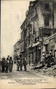 Ak Thessaloniki Griechenland, Incendie de 1917, Rue Venizelos et Place de la Liberté