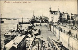 Ak Antwerpen Anvers Flandern, Embarcadère et Musée Steen