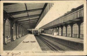 Ak U-Bahn Paris, Metropolitain, Gare d'Allemagne, peron