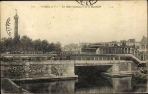 Ak U-Bahn Paris, Metropolitain a la Bastille, pont