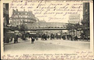 Ak U-Bahn Paris, Pont du Metropolitain, Boulevard Magenta, Dufayel