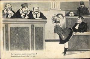 Künstler Ak Sager, Xavier, Junge Frau vor Gericht