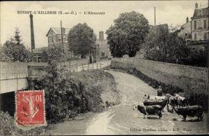 Ak Boissy l'Aillerie Val d'Oise, L'Abreuvoir, Kuhtrieb, Tränke
