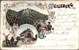 Litho Neudorf Harzgerode im Harz, Meiseberg, Wanderer, Hirsche