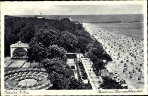 Ak Kołobrzeg Kolberg Pommern, Strandmit Strandschlossplatte
