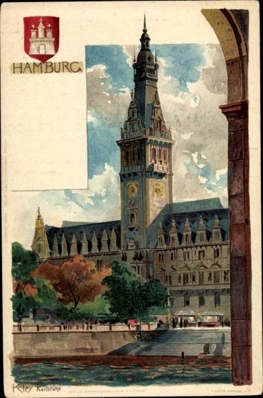 Künstler Wappen Litho Kley, Heinrich, Hamburg, Blick auf das Rathaus