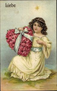 Präge Litho Allegorie Liebe, Mädchen mit Herz aus Rosenblüten, Stern