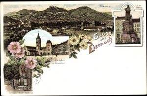 Litho Lutherstadt Eisenach in Thüringen, Stadtpanorama, Luther Denkmal, Karlsplatz, Nicolaitor