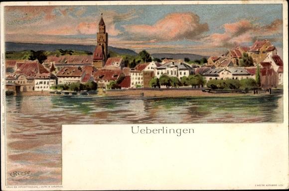 Künstler Litho Biese, C., Überlingen im Bodenseekreis Baden Württemberg, Stadtpanorama vom Fluss