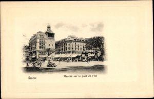 Ak Genève Genf Stadt, Marché sur le pont de L'Ile