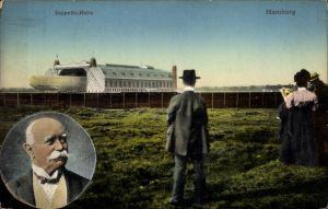 Ak Hamburg, Zeppelin Halle, Ferdinand Graf von Zeppelin, Portrait
