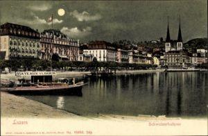Ak Luzern Stadt Schweiz, Schweizerhof Quai, Bateaux à Louer, Teilansicht der Stadt