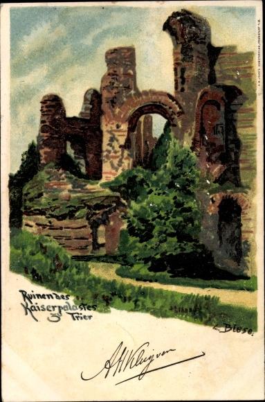 Künstler Litho Biese, C., Trier in Rheinland Pfalz, Blick auf die Ruinen vom Kaiserpalast