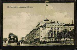 Ak Petrograd Sankt Petersburg Russland, L'Admiranté, voitures