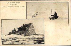 Ak Hohneck Vosges, Mann mit Schneeschuhen, Schutzhütte, Beamte