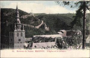 Ak Malonne Wallonien Namur Belgien, Eglise et le Calvaire