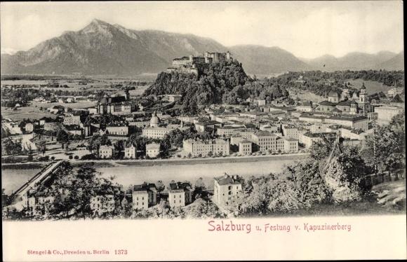 Ak Salzburg in Österreich, Panorama, Festung, Kapuzinerberg