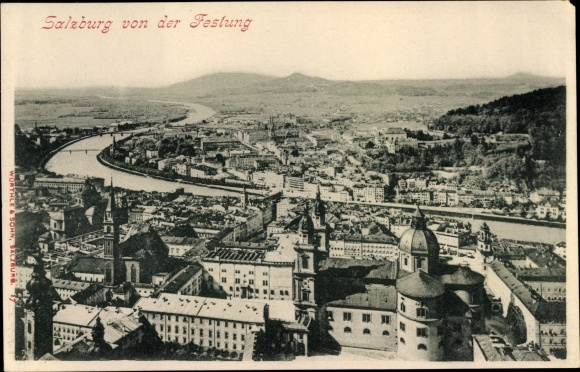 Ak Salzburg in Österreich, Panorama von der Festung aus