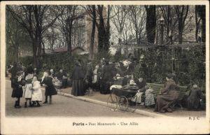 Ak Paris XIV., Parc Montsouris, une allee, Kinderwagen