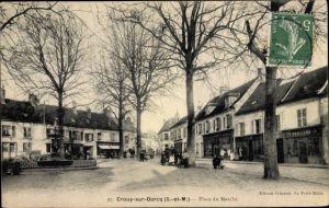 Ak Crouy sur Ourcq Seine et Marne, Place du Marche