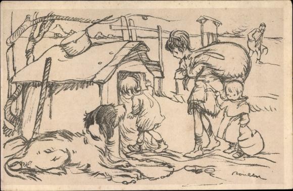 Künstler Ak Poulbot, Francisque, Kinder, Hund, Hundehütte