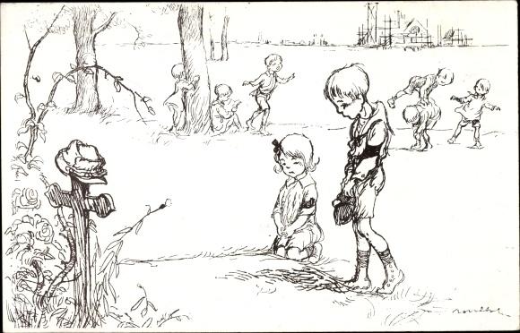 Künstler Ak Poulbot, Francisque, Kinder, Kreuz, Grab, Orpehlinat des Armées