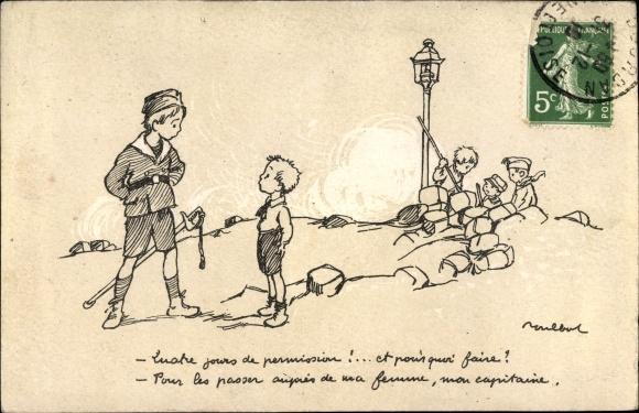 Künstler Ak Poulbot, Francisque, Kinder in Uniformen