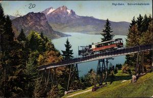 Ak Kanton Luzern, Rigibahn, Schnurtobelbrücke, Zahnradbahn