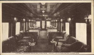Ak Burlington Route, Pullman train, main lounge, Eisenbahnabteil, Innenansicht