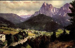 Ak Siusi allo Sciliar Seiss am Schlern Kastelruth Südtirol, Talpanorama vom Ort, Berge