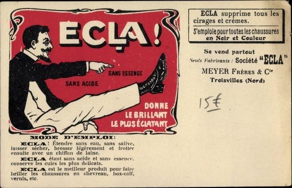 Künstler Ak Ecla, Mode d'Emploi, Schuh Reklame, Meyer Frères et Cie, Troisvilles Nord